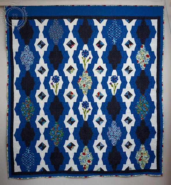 blue quilt, rukkililled