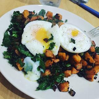 Kale & Sweet Potato Hash with egg