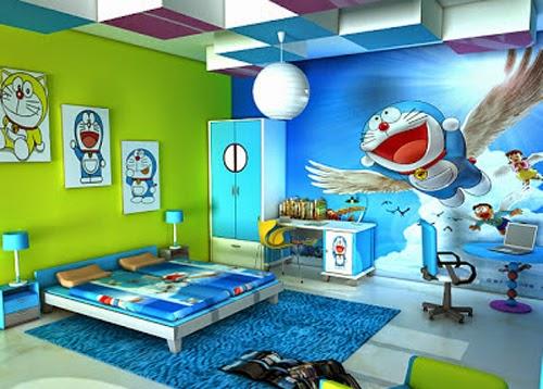 lukisan dinding kamar doraemon