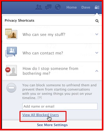 how to see blocked facebook