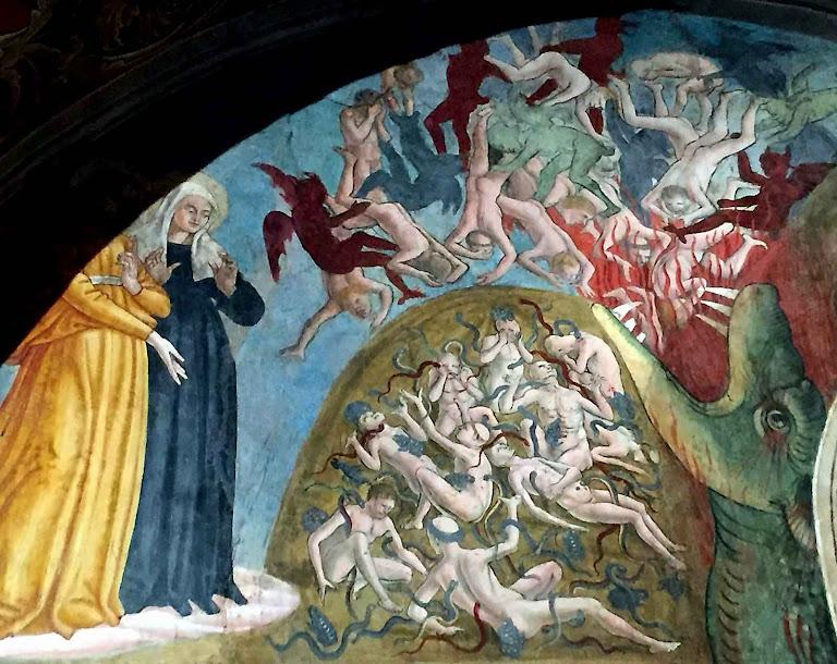 Santa Francisca Romana: visão do inferno. Mosteiro de Tor de'Specchi, Roma. Antoniazzo Romano, 1468, detalhe superior.