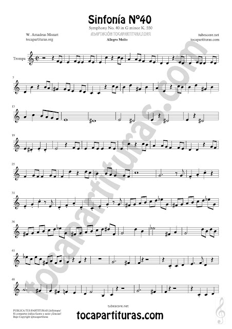 Hoja 1 Trompa Partitura de Sinfonía Nº 40 French horn Sheet Music for French Horn Music Scores