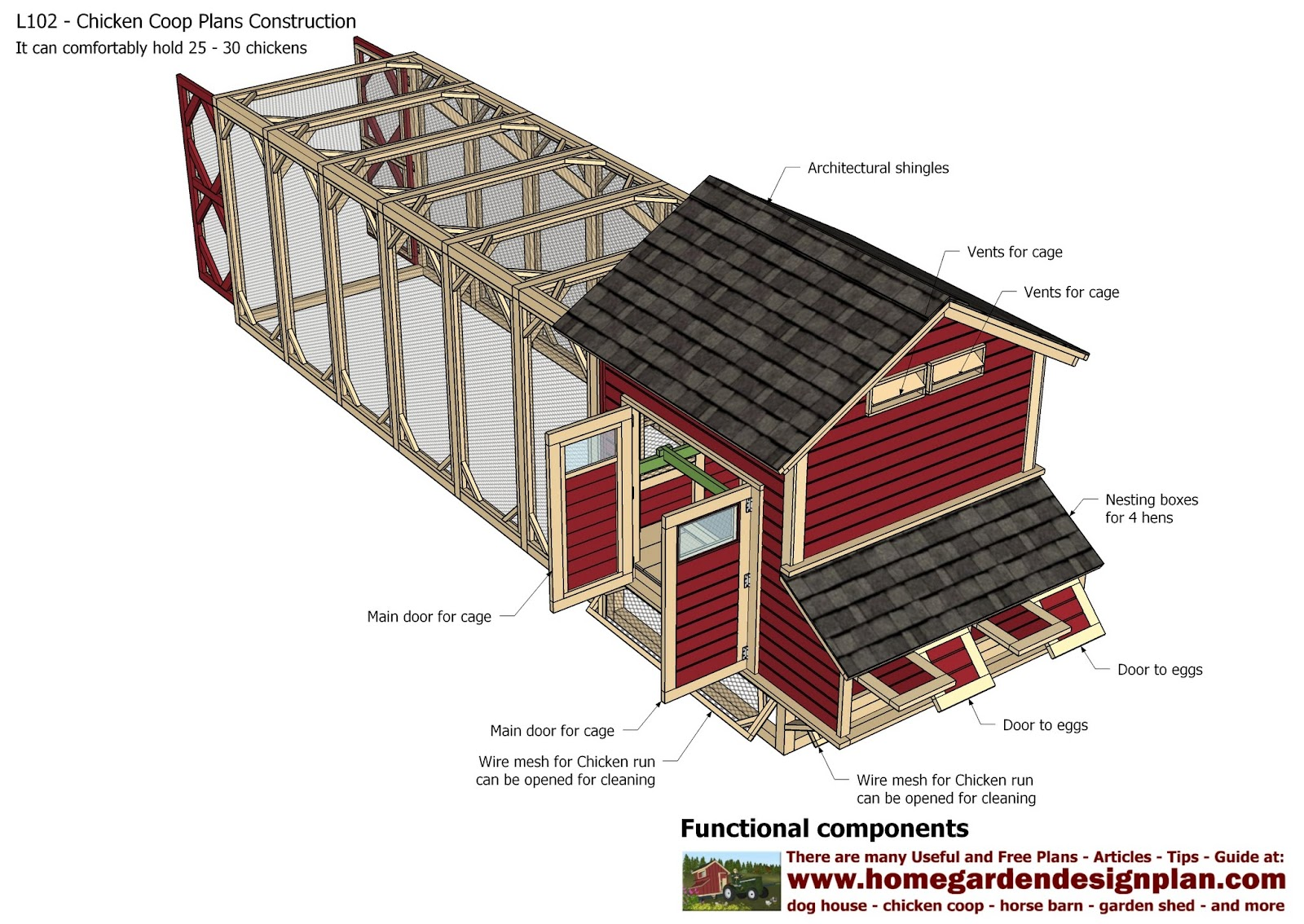 home garden plans: L102 - Chicken Coop Plans Construction ...