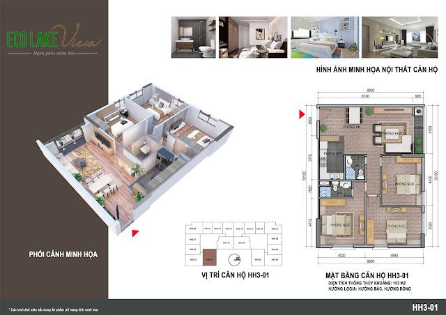 Thiết kế căn hộ số 01 tòa HH03