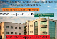 Sanjay Gandhi Post Graduate Institute of Medical Sciences Recruitment 2017 – 83 Sister Gr-II