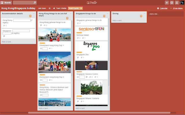 Trello holiday planning list view