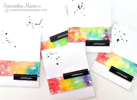 Rainbow Thank you card set by Samantha Mann | Winston's Honeybees stamp set by Newton's Nook Designs #newtonsnook