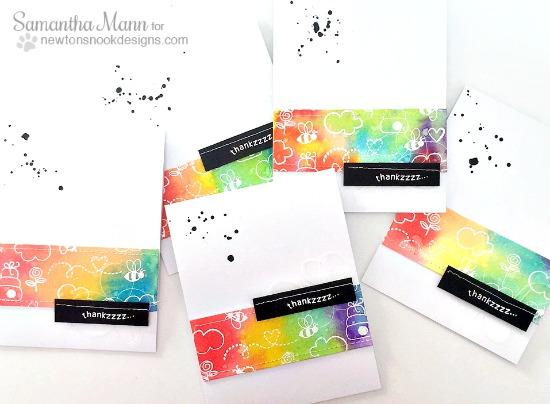 Rainbow Thank you card set by Samantha Mann | Winston's Honeybees stamp set by Newton's Nook Designs #newtonsnook