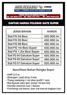 gambar daftar harga foldinggate super bandung murah