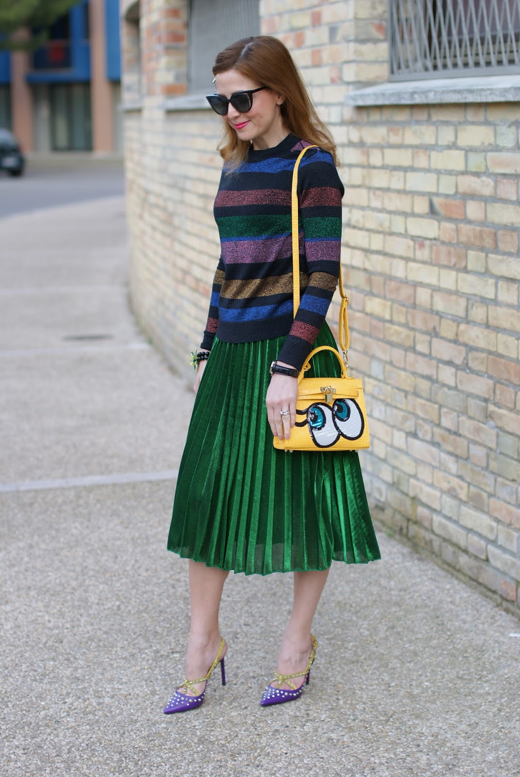 Fendi sunglasses, Gucci style pleated skirt, striped metallic blouse, Cesare Paciotti heels on Fashion and Cookies fashion blog, fashion blogger style