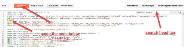 paste the code