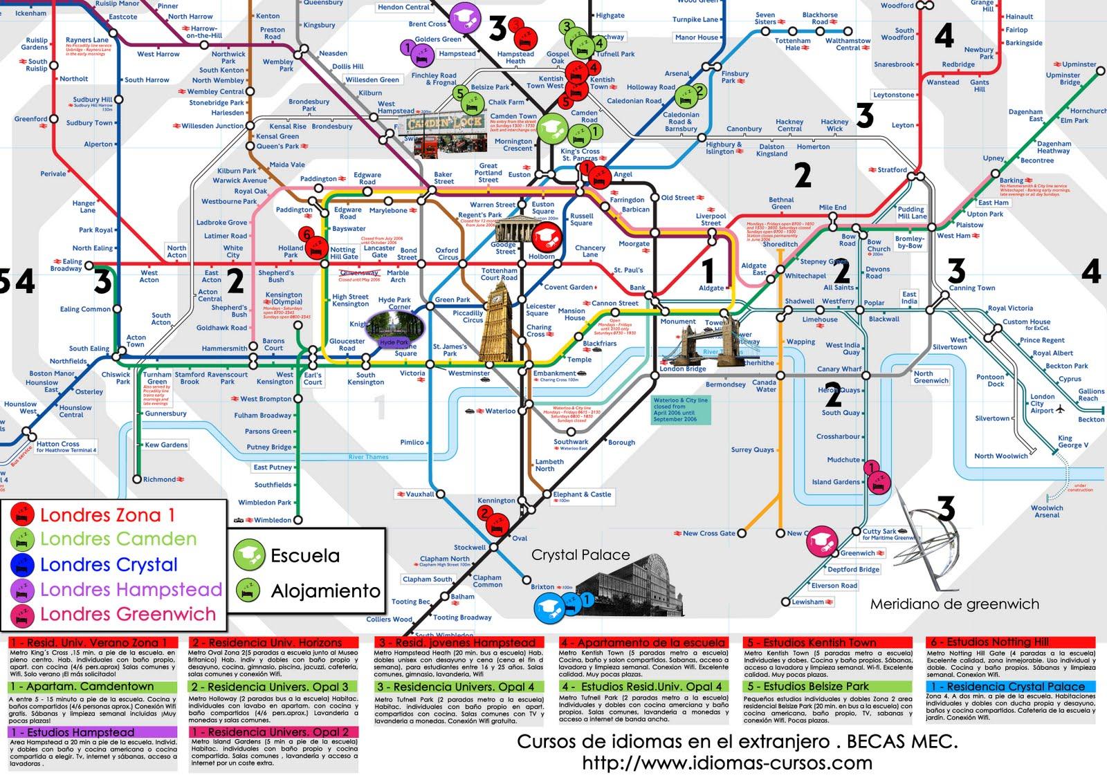 mapa de londres por zonas Blog de viajes por el mundo: MAPA METRO LONDRES con escuelas y  mapa de londres por zonas