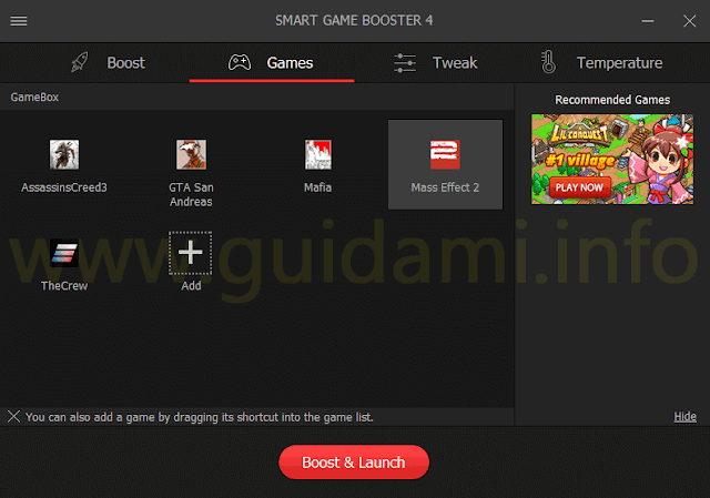 Smart Game Booster scheda Games