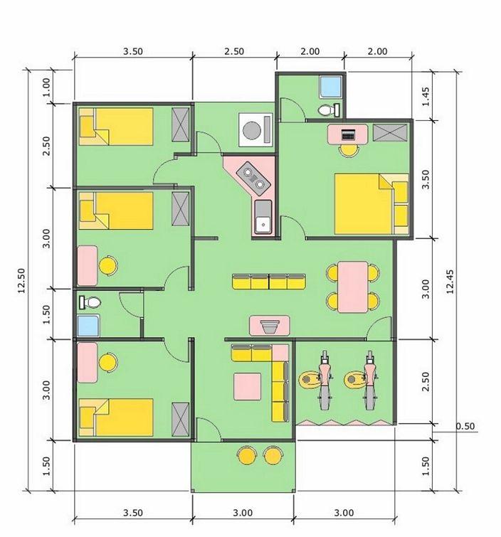 denah rumah 6x9 meter kamar 3 yang kreatif