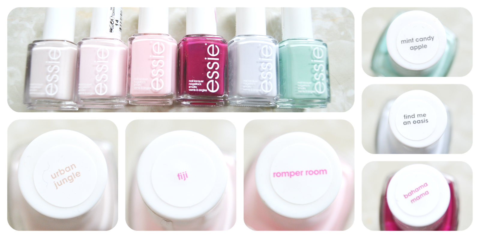 essie swatch urban jungle fiji romper room mint candy apple find me an oasis bahama mama