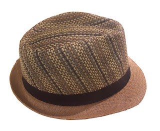 A man's straw hat in the fedora style, with strip top cap and black band.