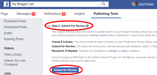 Submit your instant articles for review