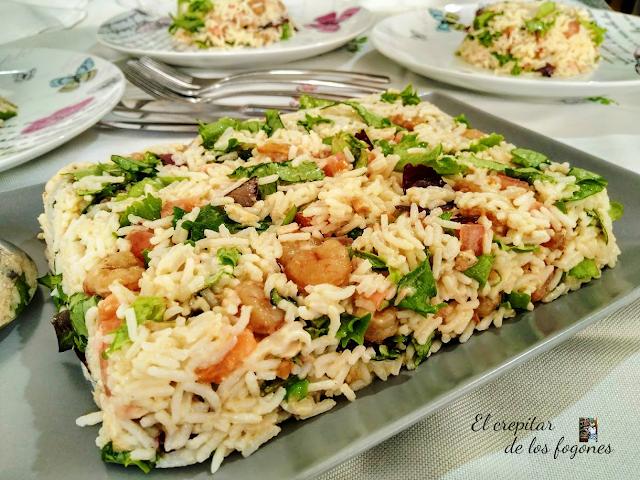 receta-de-pastel-frio-de-arroz-con-gambas-al-ajillo