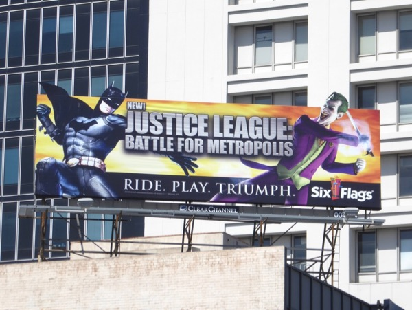 Six Flags Justice League extension billboard