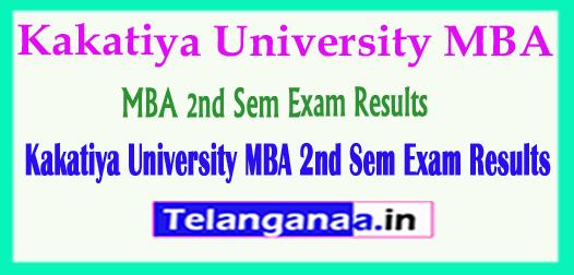 Kakatiya University KU MBA 2nd Sem Exam Results 2018