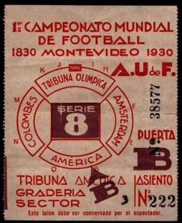 entrada para mundial fútbol Uruguay 1930