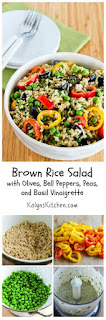 Brown Rice Salad Recipe with Olives, Bell Peppers, Peas, and Basil Vinaigrette [from KalynsKitchen.com]