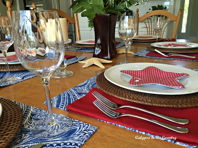 Patriotic Table Setting - Adding a few red pieces to update a table from summer to 4th of July