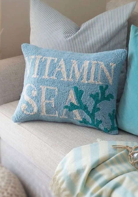 Hooked Sea Quote Pillow Living Room