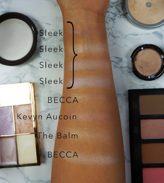 "Nailsallover Nails All Over Top 5 Highlighter Drogerie & High End - Review & Swatches -  BECCA Opal, BECCA Pearl, Sleek Palette Solstice, TheBalm Mary Lou-Manizer, Kevyn Aucoin Celestial Powder Starlight"" - Review & Swatches!"