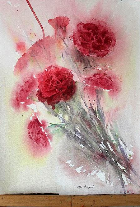 Original red carnations watercolor by Olga Peregood