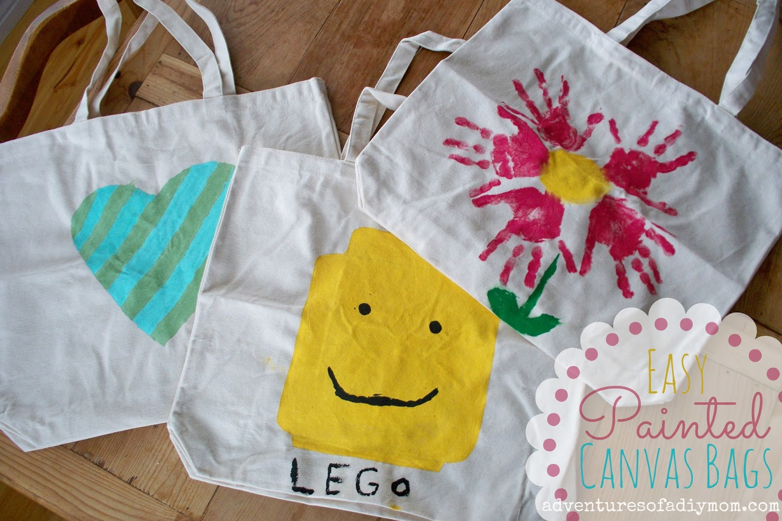 Easy DIY Painted Canvas Bags - Adventures of a DIY Mom