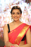 Kajal Aggarwal in Red Saree Sleeveless Black Blouse Choli at Santosham awards 2017 curtain raiser press meet 02.08.2017 086.JPG
