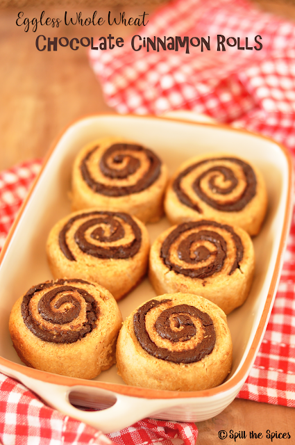 Eggless Whole Wheat Chocolate Cinnamon Rolls