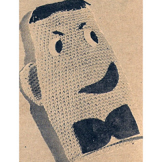 Vintage Mans Face Crocheted Oven Mitt Pattern
