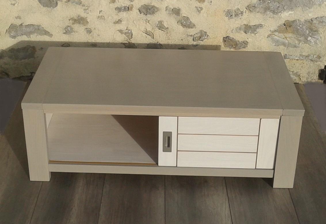 o 39 bois recycl table basse en pin massif blanche et gris souris. Black Bedroom Furniture Sets. Home Design Ideas