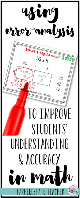 "Are your 4th or 5th grade students learning the area model for multiplication and continuing to make common errors? Mine were having some trouble, until I started asking them to ""find my error."" Today's math hack is so simple, you can have it ready in 5 minutes--and you can use it for just about any concept you are teaching in math. Learn how I use error analysis to help students understand math models better and solve problems with more accuracy."