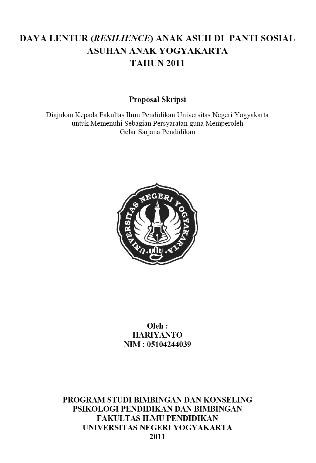 Contoh judul thesis proposal