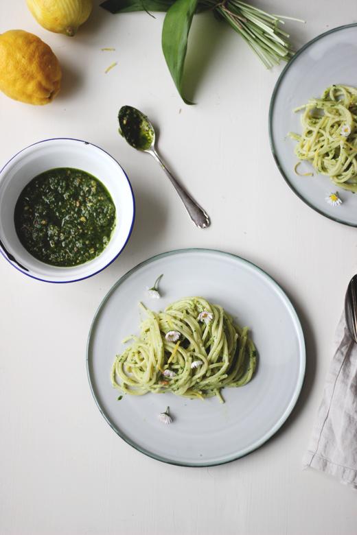 Rezept mit Bärlauchpesto: Bärlauch-Ricotta-Pasta mit Zitrone, Holunderweg18