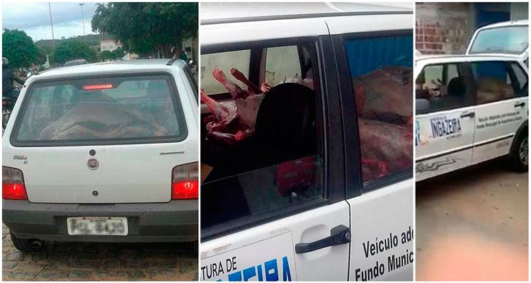 Carro flagrado transportando carne em péssimas condições