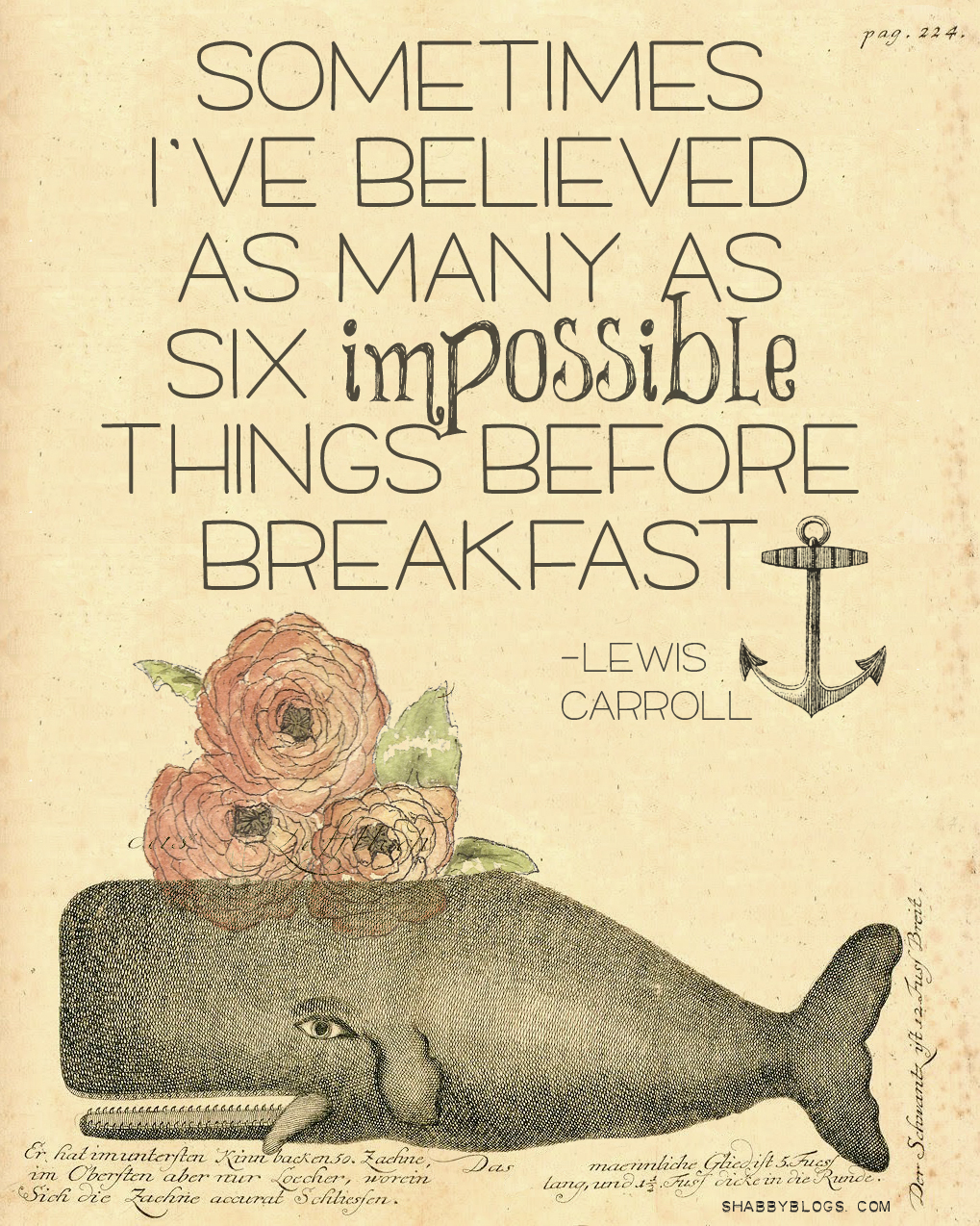Believe Impossible Things Before Breakfast Quote: Shabby Blogs: Free Digital Paper- Winifred The Fancy Whale