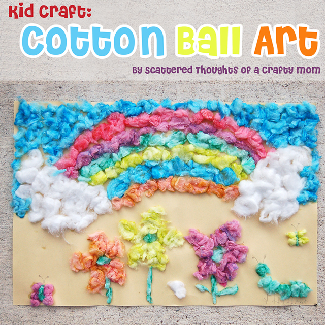 Kid Craft Cotton Ball Art Scattered Thoughts Of A Crafty Mom By