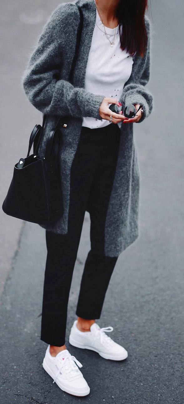 fall fashion trends_cashmere coat + bag + tee + pants + sneakers