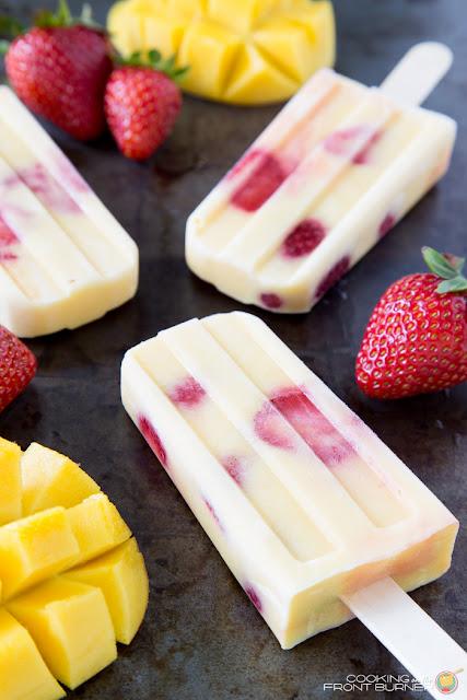 mango strawberry vanilla yogurt popsicles