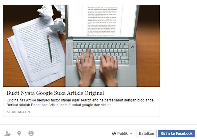 kalautau.com - contoh Thumbnail Share Post Facebook yang benar.
