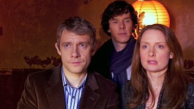 Benedict Cumberbatch, Martin Freeman and Zoe Telford as Sherlock Holmes, John Watson and Sarah in BBC Sherlock Season 1 Episode 2 The Blind Banker