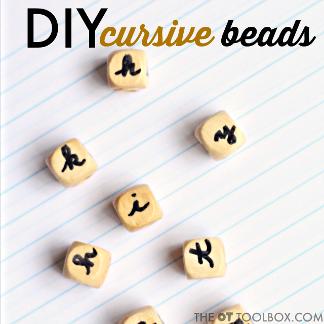 Use these cursive activity beads to help kids learn cursive letters, learn to write cursive letters, practice cursive formation and cursive letter identification, and carryover of cursive handwriting skills.