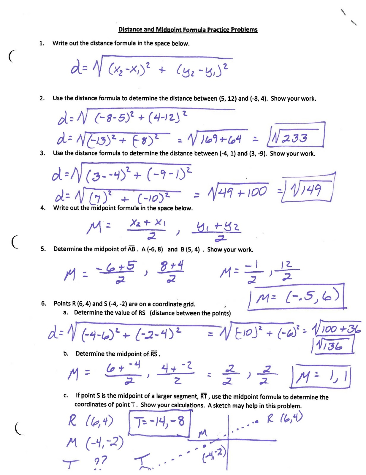 Distance and midpoint formula word problems worksheet
