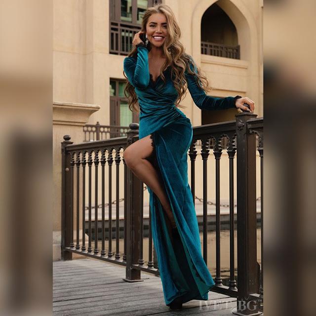 Μακρυμάνικο μάξι πετρόλ φόρεμα BIANA PETROL