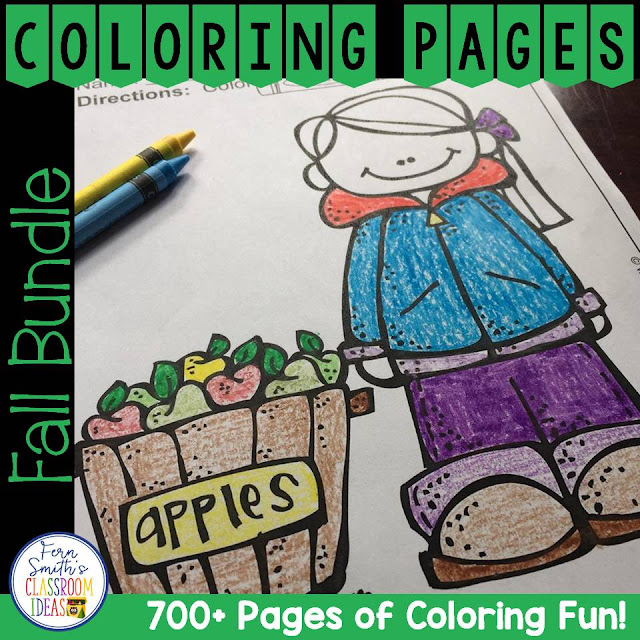 Fall Coloring Pages Big DISCOUNTED Bundle! This DISCOUNTED bundle comes with a SUBSTANTIAL DISCOUNT of less than 3 cents a page compared to purchasing each resource separately. Your students will love how this coloring pages bundle has over 700+ Print and Go Coloring Pages for the First Semester of School! Coloring Pages for FALL / AUTUMN all in one BIG BUNDLE!