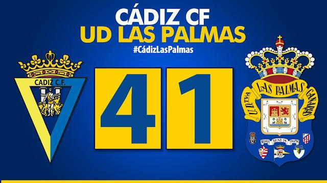 marcador final Cádiz CF 4-1 UD Las Palmas
